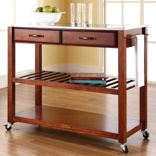 Hedon Kitchen Island with Stainless Steel Top Three Posts