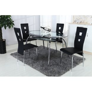 Wym Square Dining Table Set with 1 Glass Oval Table and 4 Chrome Chairs by Hazelwood Home