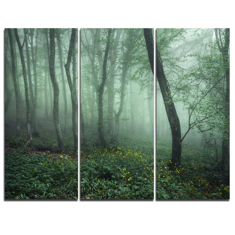 Designart Trail Through Dark Foggy Forest 3 Piece Graphic Art On Wrapped Canvas Set Wayfair