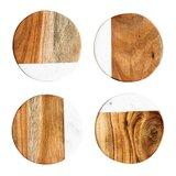 Ivy Round Marble and Mango Wood Coaster (Set of 4)