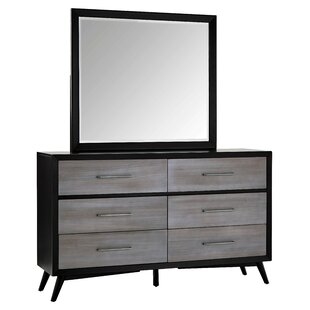 Bork 6 Drawer Double Dresser with Mirror