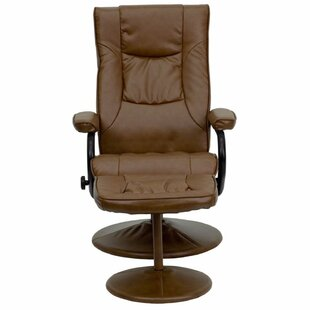 Carey LeatherSoft Manual Swivel Recliner With Ottoman
