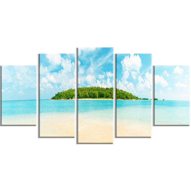 Designart Tropical Island Panorama 5 Piece Wall Art On Wrapped Canvas Set Wayfair