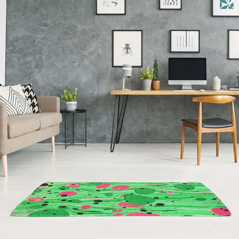 East Urban Home Mcguigan Paint Swirls Green Area Rug