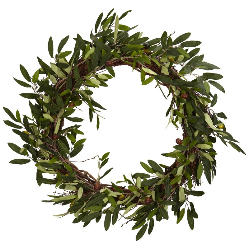 """20"""" Faux Olive Branch Wreath"""