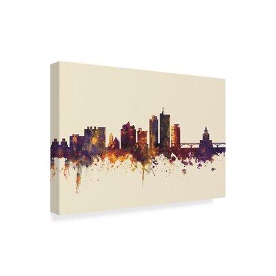 "Cedar Rapids Iowa Skyline III' Graphic Art on Wrapped Canvas Wrought Studio™ Size: 12"""" H x 19"""" W x 2"""" D -  069A9063CC674AA0A5CA8B7BE754D23A"