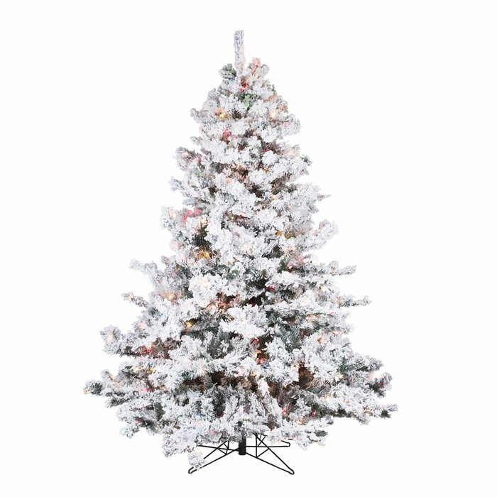 newest 94a67 627ff Flocked Alaskan 6.5' White /Green Spruce Trees Artificial Christmas Tree  with 600 Incandescent Multi-Colored Lights with Stand