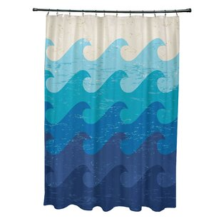 Bay Isle Home Pembrook Polyester Deep Sea Geometric Shower Curtain