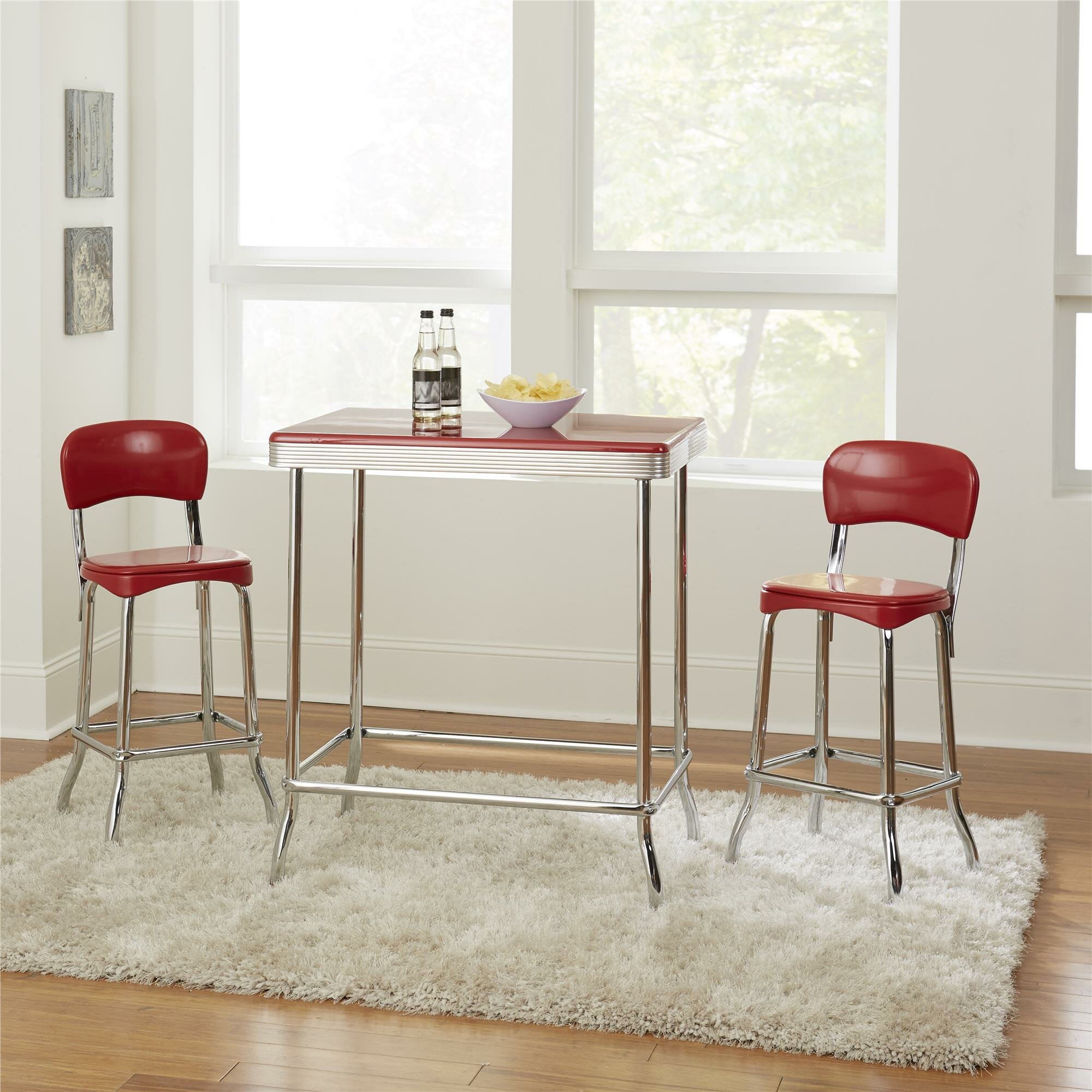 Ordinaire Ebern Designs Bate Red Retro 3 Piece Dining Set U0026 Reviews | Wayfair