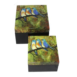 Affordable Price Painted Bluebirds on MDF 2 Piece Box Set ByESSENTIAL DÉCOR & BEYOND, INC