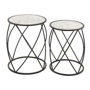 2 Piece Iron Side Table Set