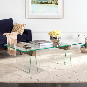 Nystrom Coffee Table with Glass Top by Orren Ellis