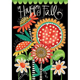 Happy Fall Flowers 2-Sided Polyester 40 x 28 in. House Flag