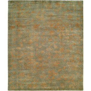 Goodson Hand Knotted Wool Light Blue/Gold Area Rug by Bloomsbury Market