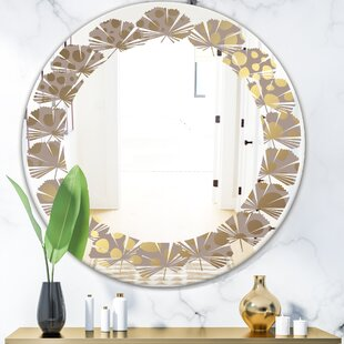 Marble Design III Leaves Modern Frameless Wall Mirror