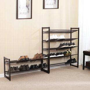2-Tier Metal Flat/Slant/Adjustable 8 Pair Shoe Rack Rebrilliant