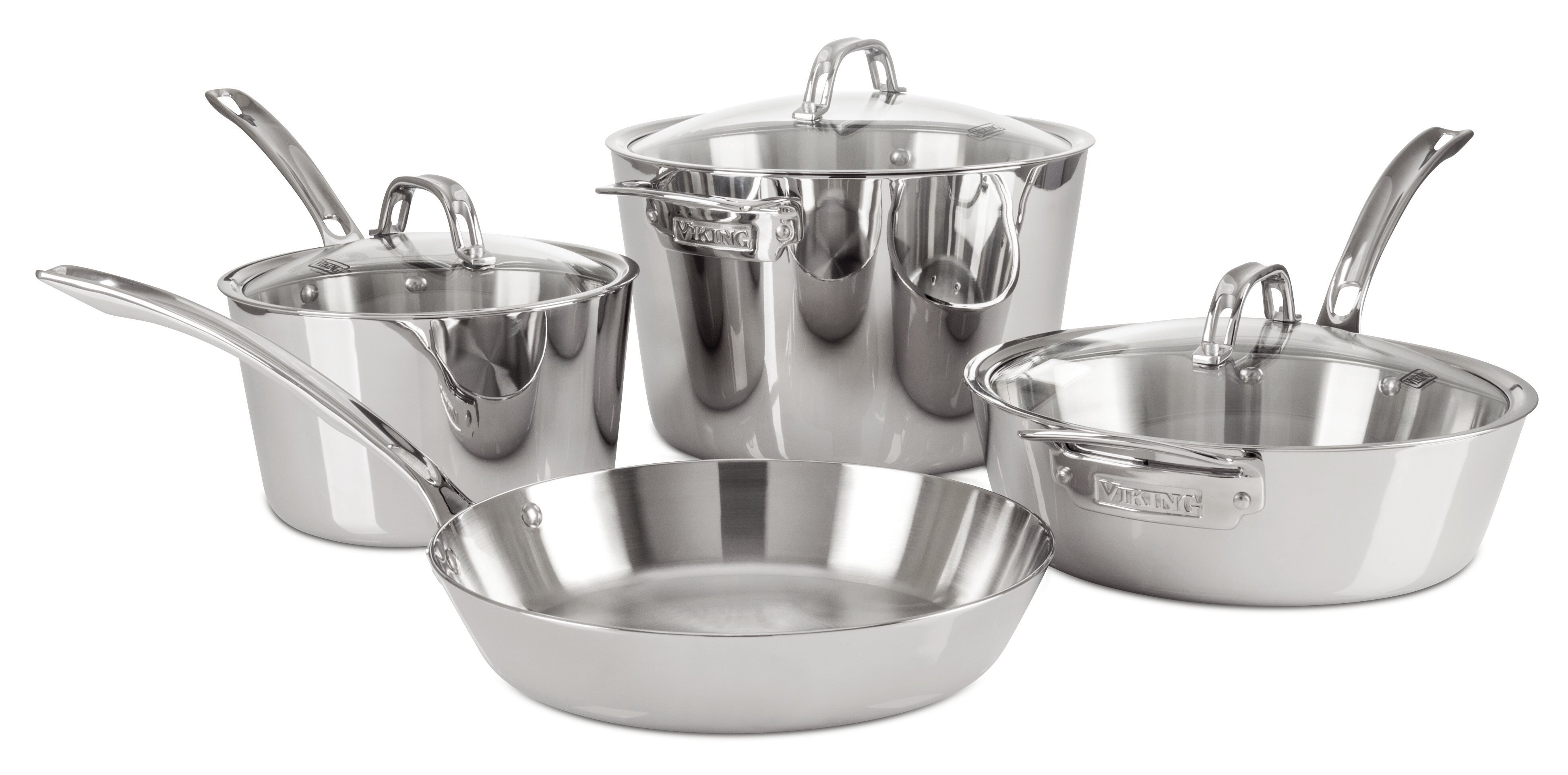 Viking Contemporary 3-Ply Stainless Steel Cookware Set 7 Piece 4513-3S07