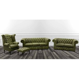 Rosabel Chesterfield 4 Piece Leather Sofa Set By Marlow Home Co.