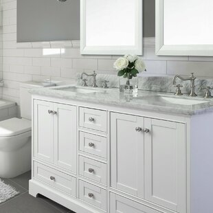 72 Double Bathroom Vanity Set With Italian Carrara White Marble Top
