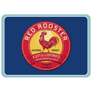 Twila Rooster Label Kitchen Mat