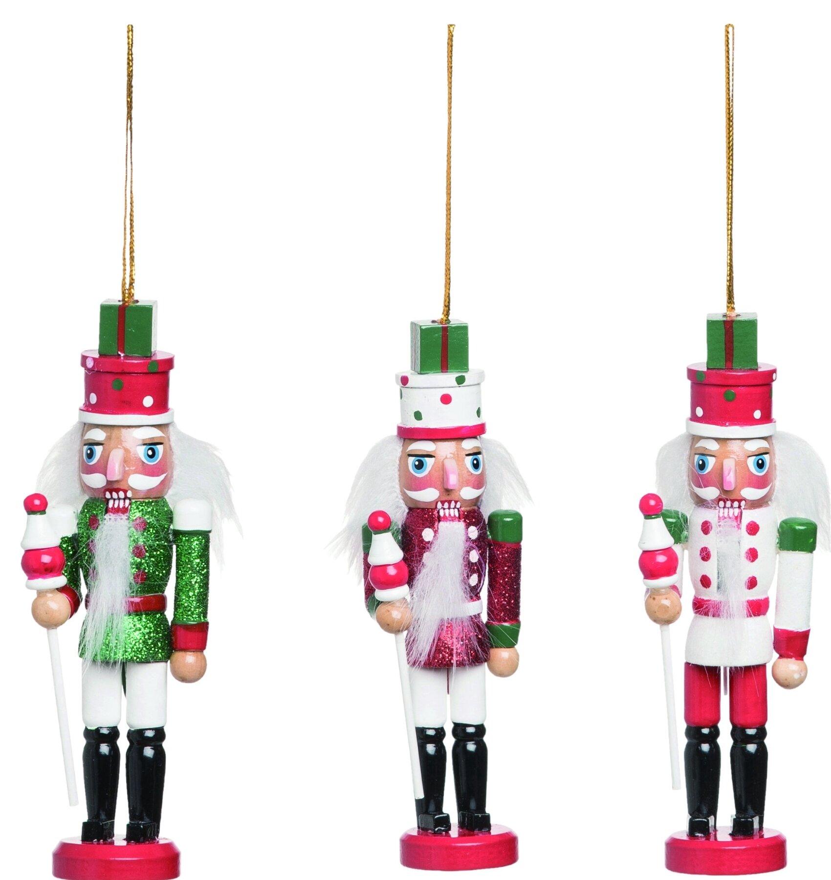 The Holiday Aisle 3 Piece Nutcracker Hanging Figurine Ornament Set Wayfair