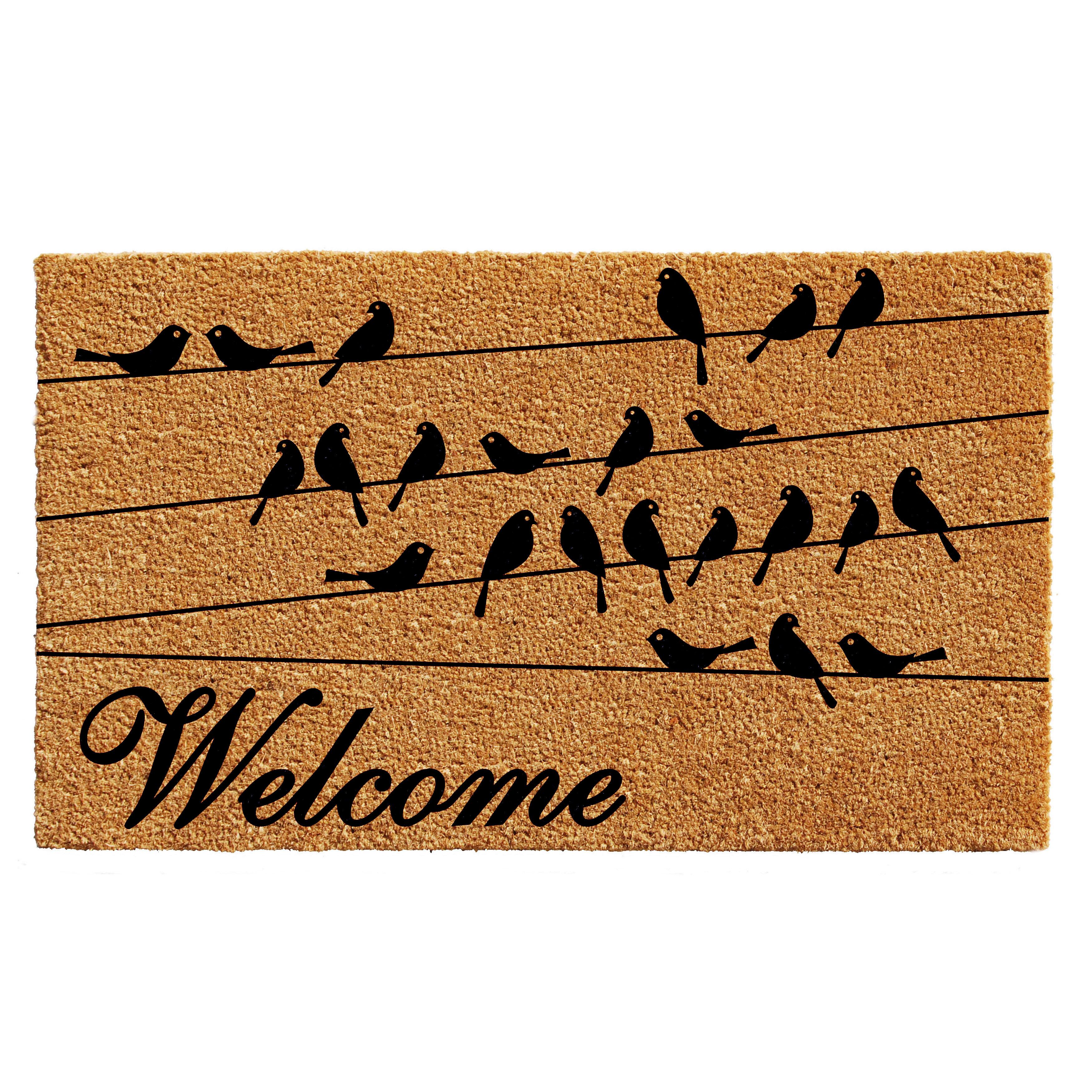 Welcome Birds Flowers Natural Coir Door Mat PVC Anti Slip Rug Entrance Floor Mat