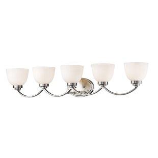 Great Price Kepner 5-Light Glass Shade Vanity Light By Winston Porter