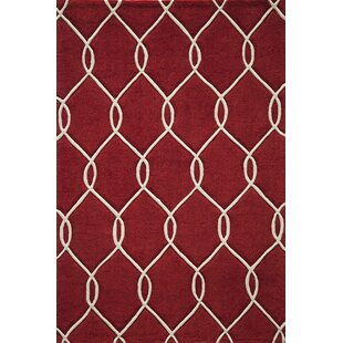 Reviews Bassett Hand-Tufted Red Area Rug By Breakwater Bay