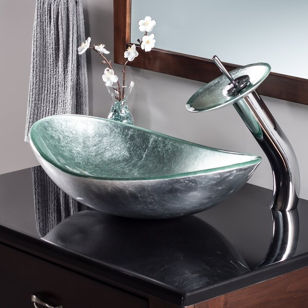 Novatto Argento Glass Oval Vessel Bathroom Sink With