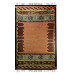 Dhurrie Hand-Loomed Red / Brown Area Rug