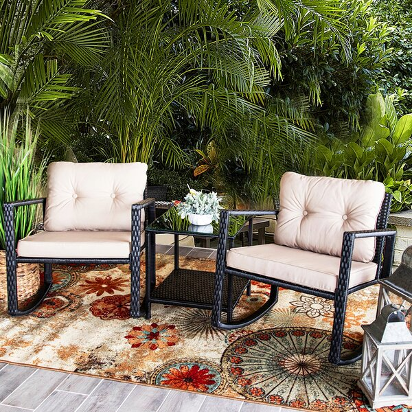 Alcott Hill Jerrod 3 Piece Rattan Seating Group With Cushions Reviews Wayfair