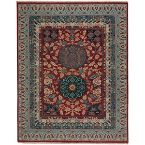 Biltmore Plantation Journet Hand-Knotted Dark Red/Blue Area Rug