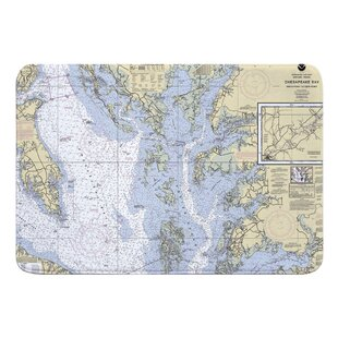 Hobdy Chesapeake Bay, MD-VA Nautical Chart Memory Foam Bath Rug by Breakwater Bay New