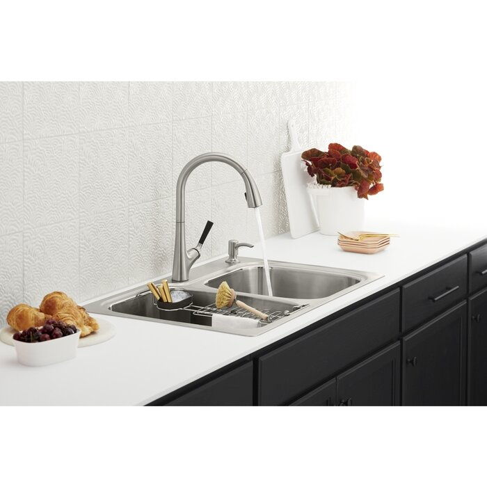 Kohler All-in-One Dual-Mount Stainless Steel Kitchen Sink Kit with Faucet  and Accessories