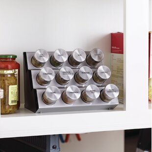 Stainless Steel Tilt 12 Jar Spice Jar & Rack Set