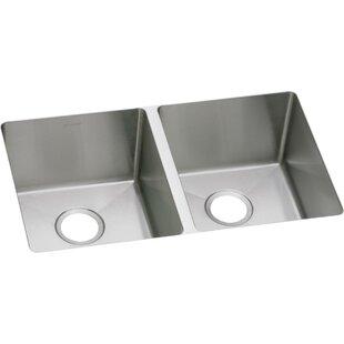 Crosstown 31L x 19W Double Basin Kitchen Sink by Elkay