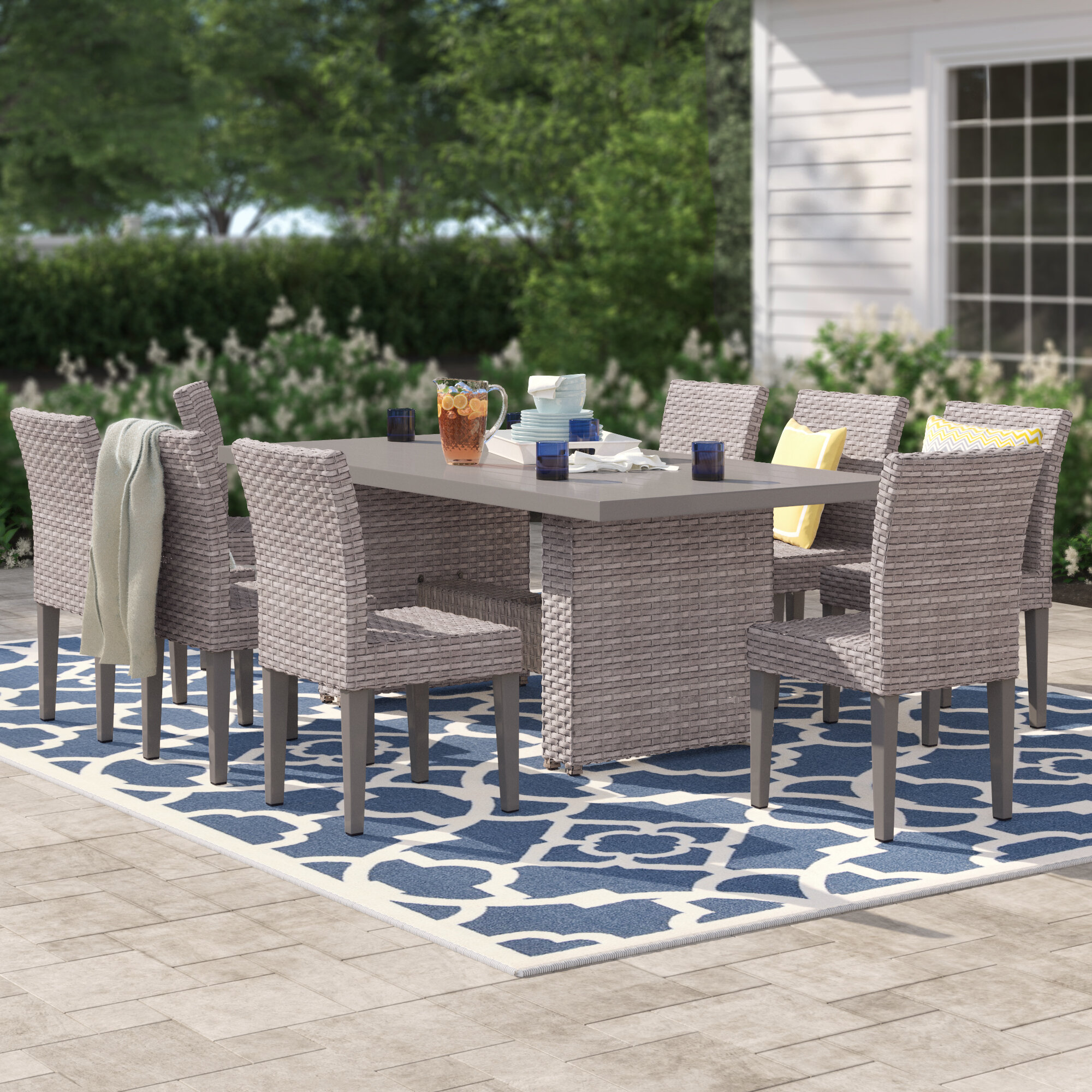 Festnight 9 Piece Wooden Outdoor Patio Dining Set Oval Folding Table with 8 Foldable Chairs Eucalyptus Wood Outdoor Furniture Space Saving for Garden Backyard Terrace Balcony
