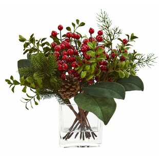 Artificial Pine and Boxwood Mixed Arrangement in Vase