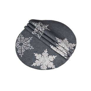 Snowflake Embroidered Christmas Round Placemat (Set of 4)