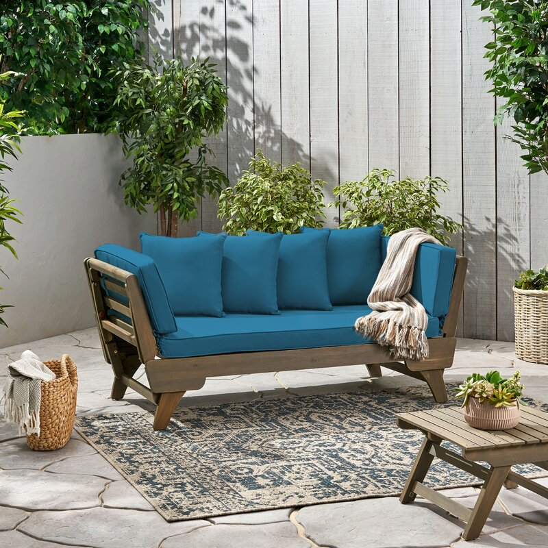 Gracie Oaks Patio Daybed with Cushions