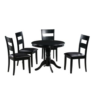 Toby 5 Piece Drop Leaf Solid Wood Dining Set Alcott Hill