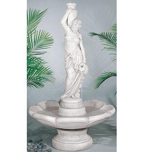 Henri Studio Figurine Concrete Rebecca at Well Petal Fountain
