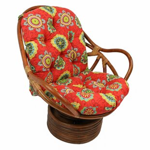 Tontouta Rattan Swivel Rocking Chair with Cushion