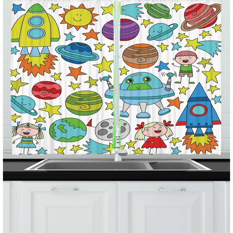 East Urban Home 2 Piece Doodle Childish Outer Space Themed Colorful Pattern With Planets Rockers Stars And Aliens Kitchen Curtain Set Wayfair