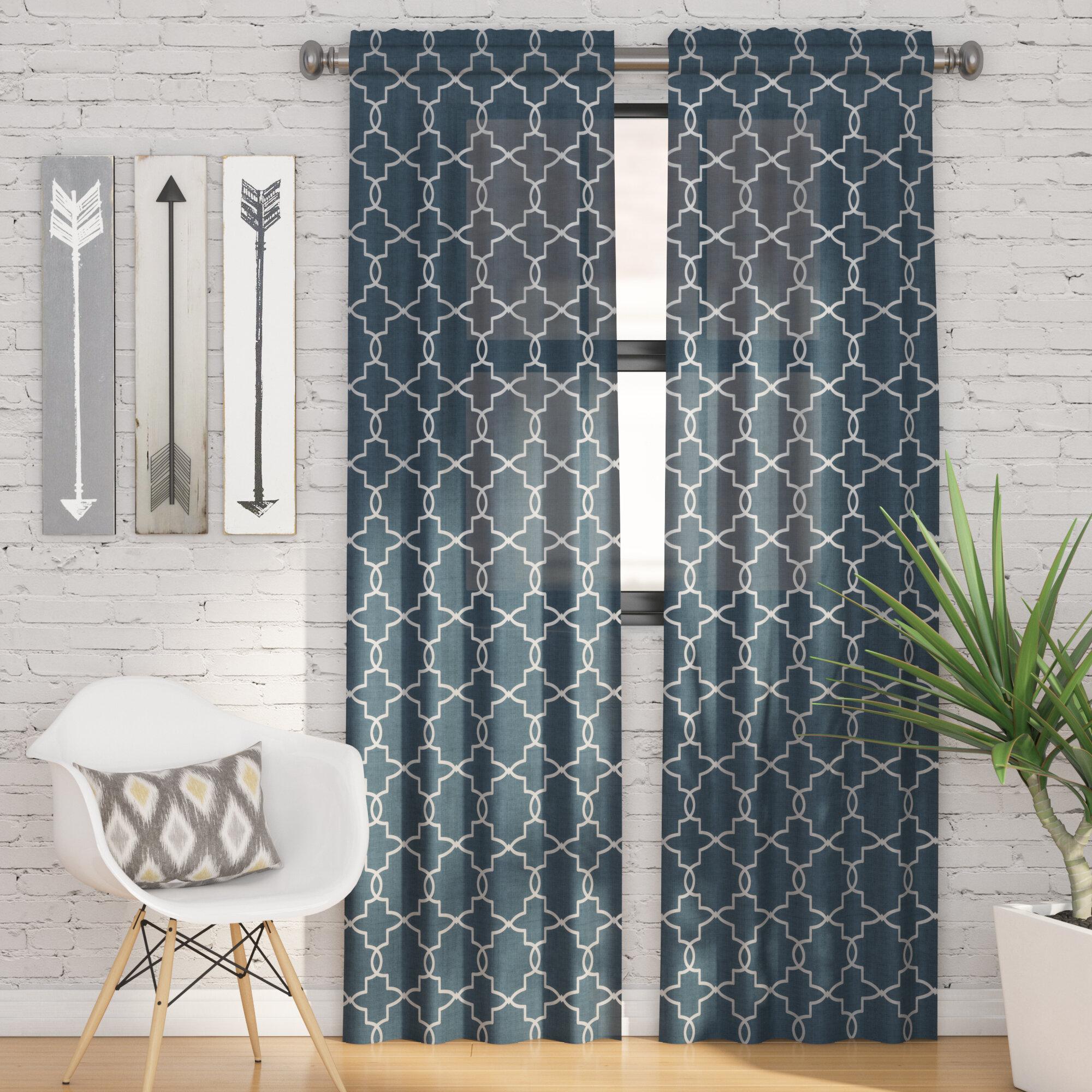 Zipcode Design Kaiser Geometric Light Filtering Rod Pocket Curtain