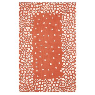 Inexpensive Albata Printed Handwoven Cotton Coral/White Indoor Area Rug ByBungalow Rose
