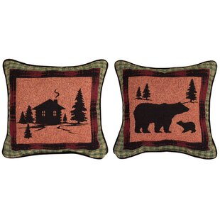 Bear Lodge Cabin/Bear Throw Pillow