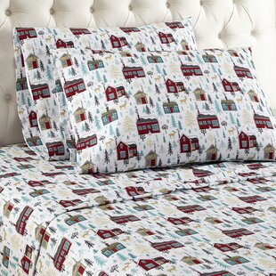 Alcott Hill Buchholtz Cabins Flannel Sheet Set