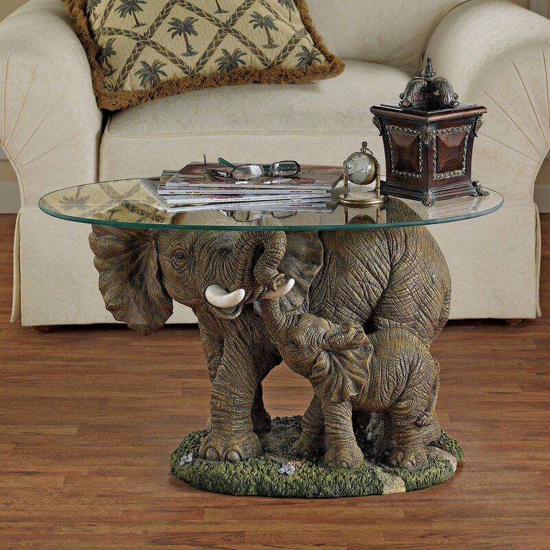 Elephantu0027s Majesty Coffee Table With Glass Top