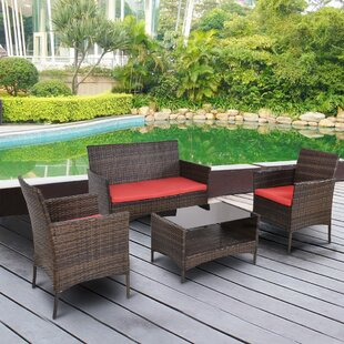 Jasmin Outdoor Patio 4 Piece Rattan Sofa Seating Group with Cushions